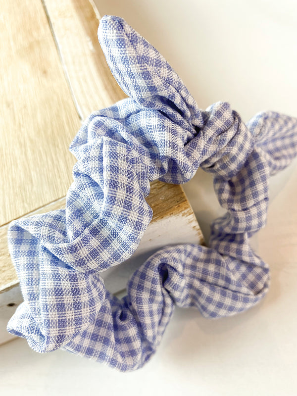 Blue Gingham Bow Scrunchie