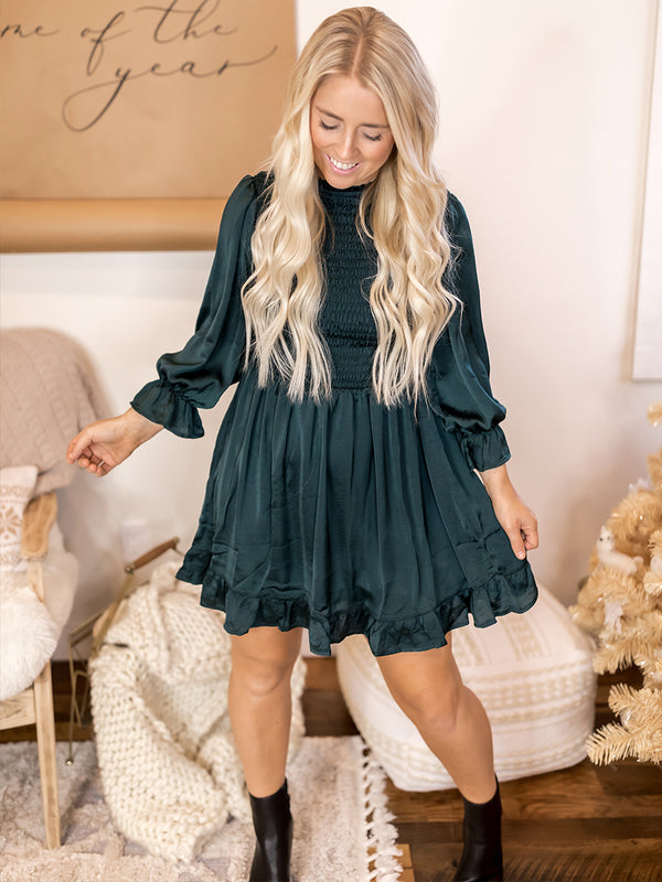 Under the Mistletoe Satin Ruched Dress