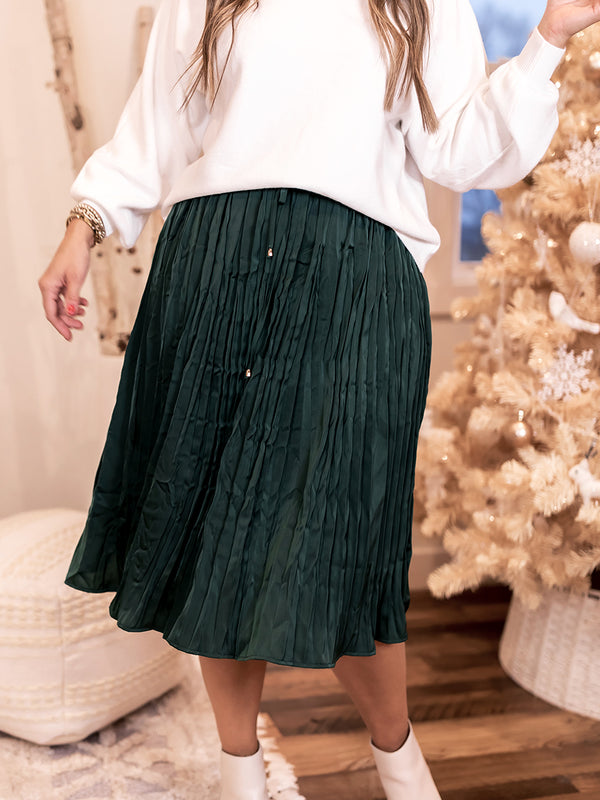 Evergreen Pleated Skirt