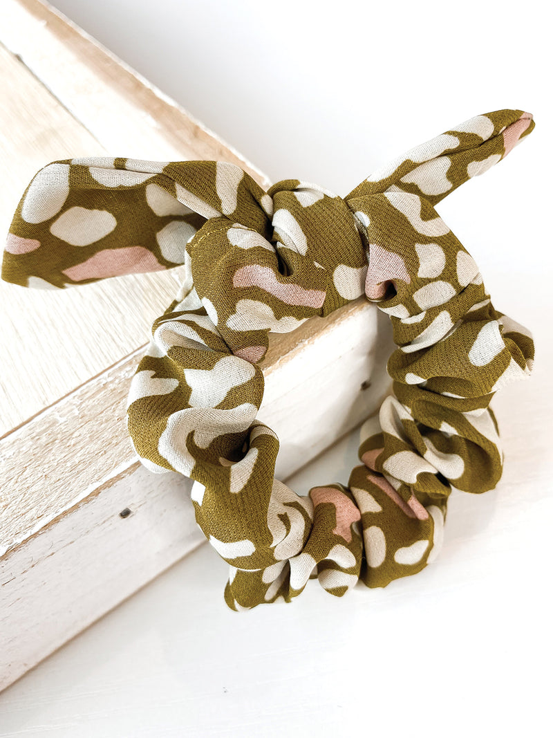 Spotted Olive Bow Scrunchie