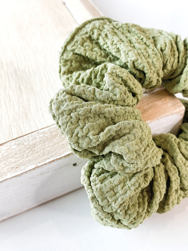 Sage Textured Scrunchie