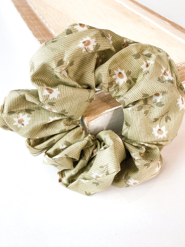 Floral Sage Hair Scrunchie