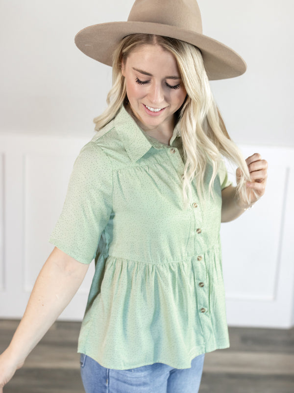 Misty Collared Dot  Blouse