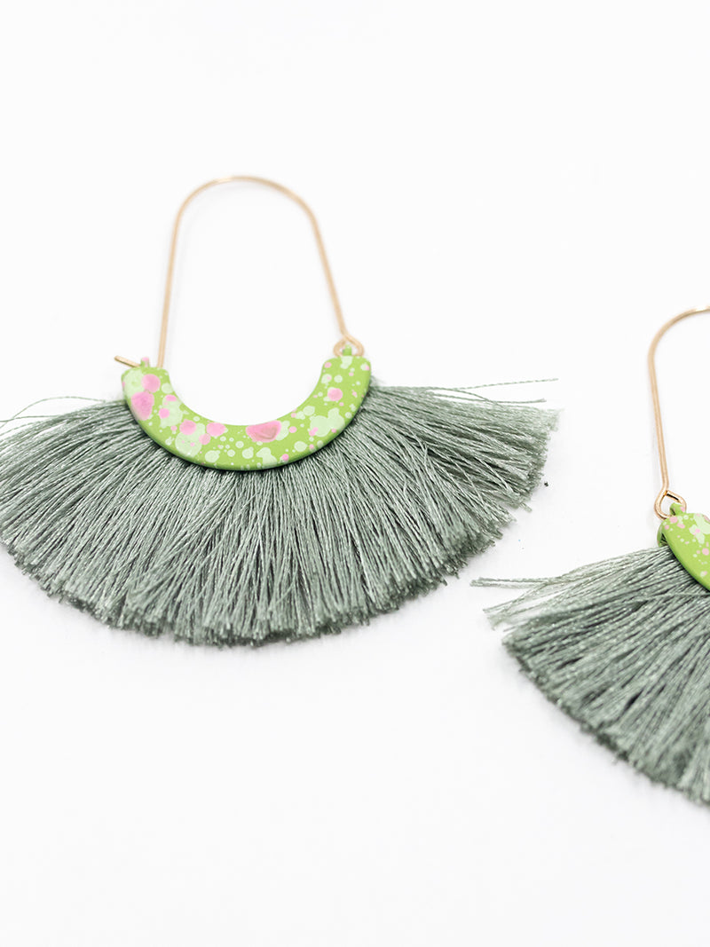 Green Fringe Drop Earring