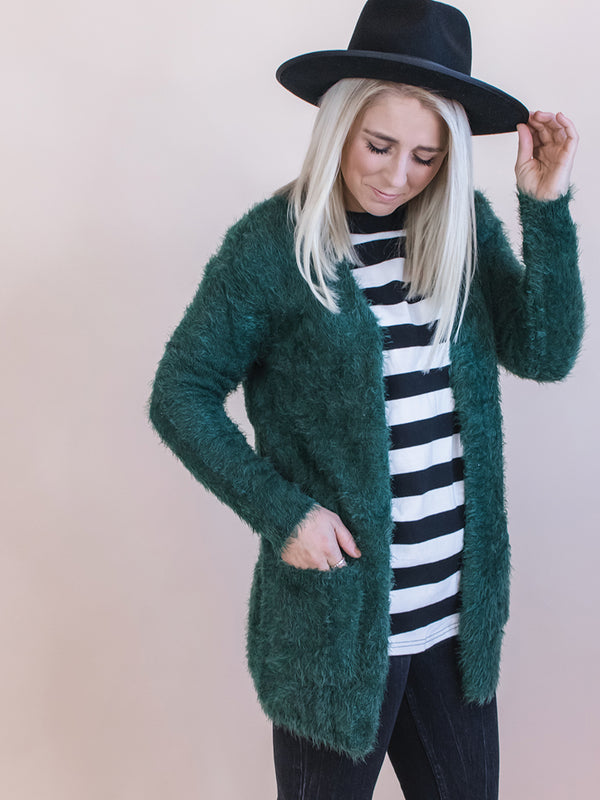 Gemma Hunter Green Fuzzy Cardigan