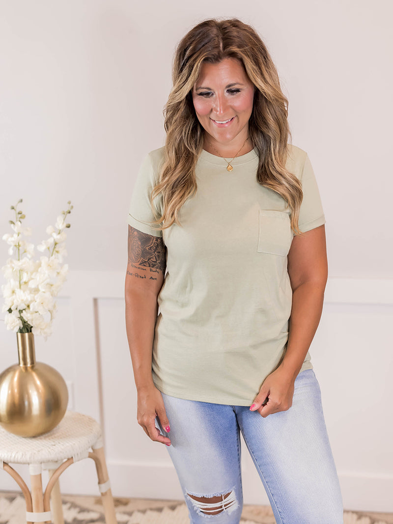 Everyday Dusty Sage Pocket Tee