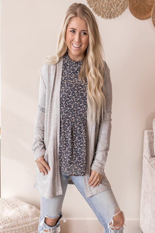 Grey Oversize Pocket Cardigan