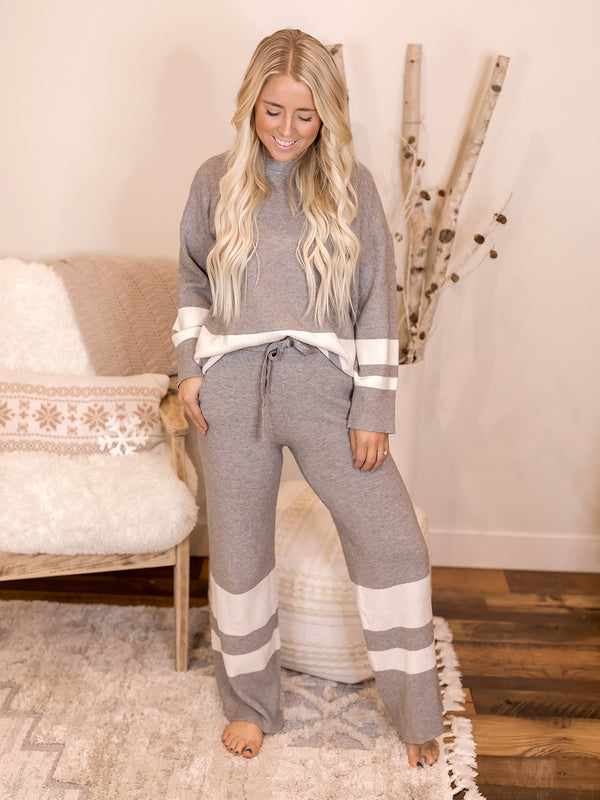 Perry Grey Stripe Lounge SET