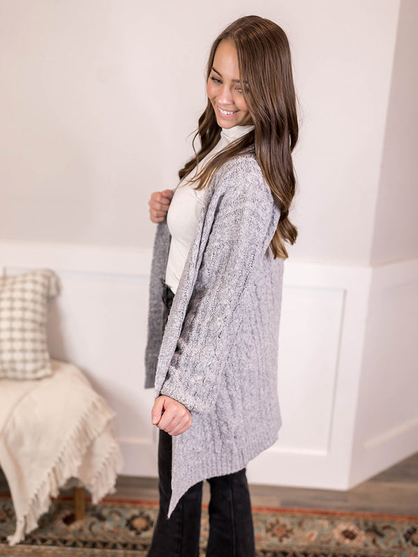 Rainy Day Cable Knit Cardigan