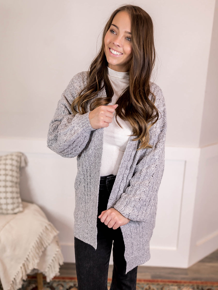 Heather Charcoal Soft Knit Open Cardi