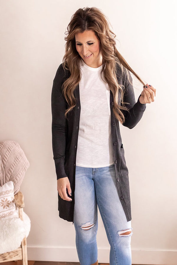 Everyday Charcoal Button Cardi
