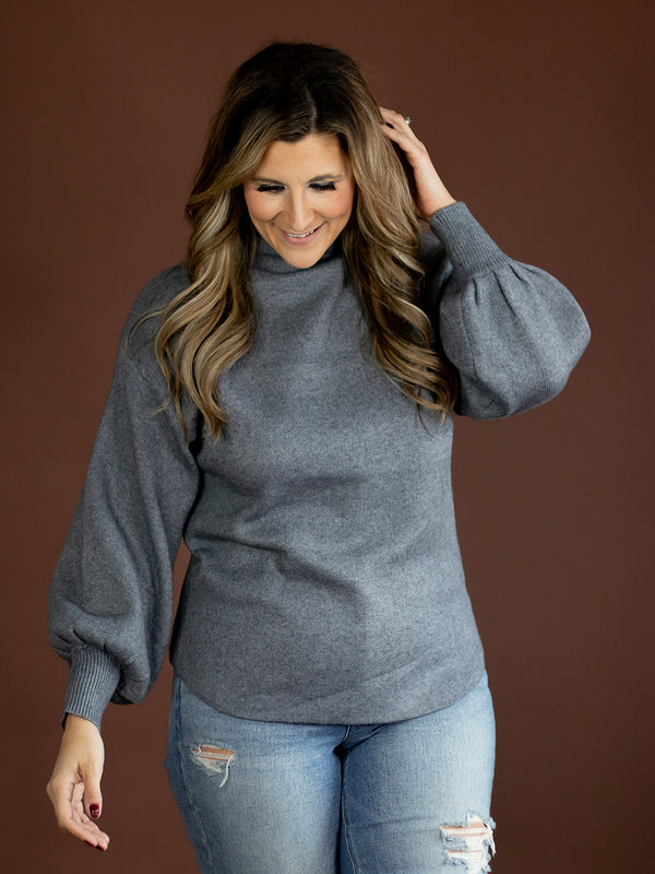 Blake Grey Mock Neck Sweater