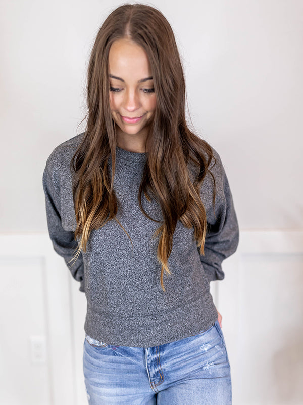 Heathered Grey Brushed Crewneck