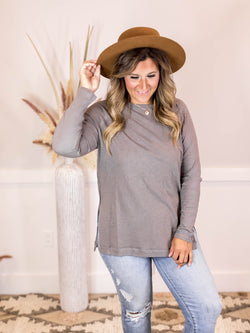 Side Slit Grey Long Sleeve