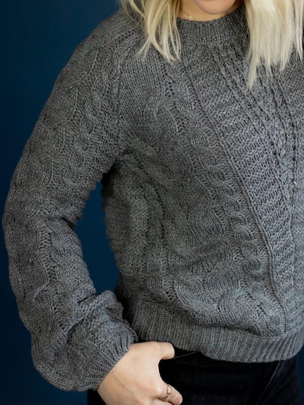 Claire Grey Cable Knit Sweater