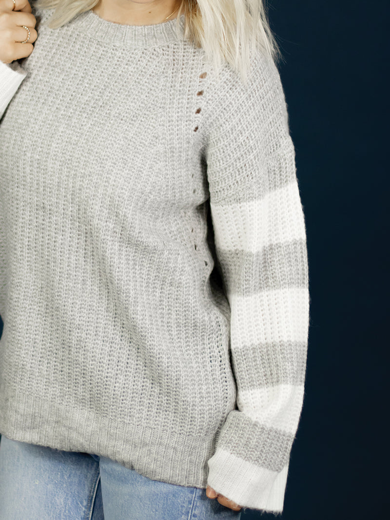 Amber Striped Sleeve Grey Knit Sweater