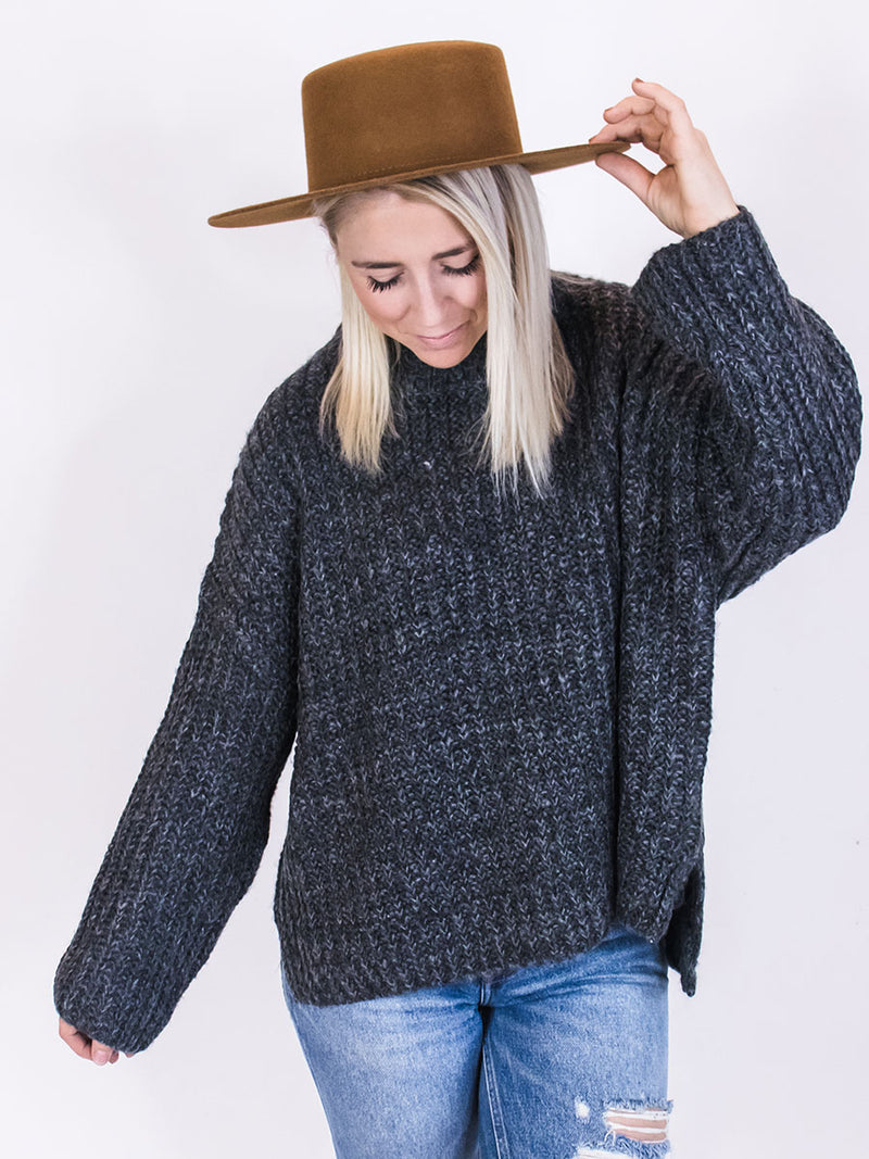 Faye Charcoal Wide Knit Sweater