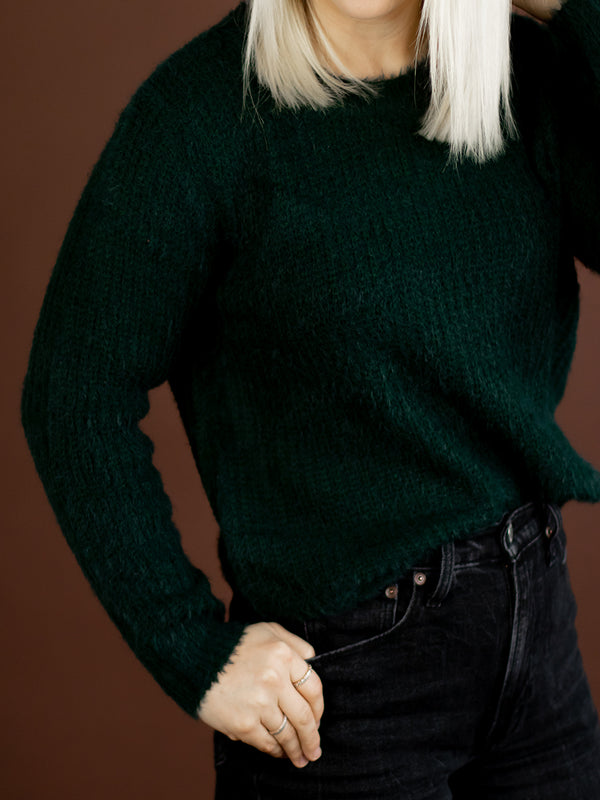 Fuzzy Hunter Green Sweater