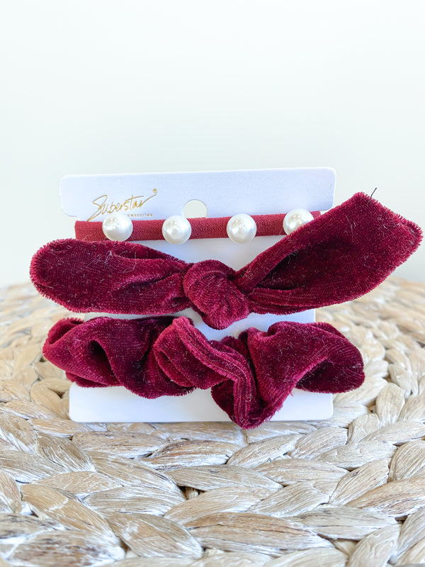 Burgundy Velvet Hair Tie Bundle