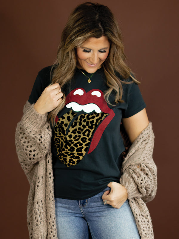 Rolling Stone Leopard Tongue Graphic Tee