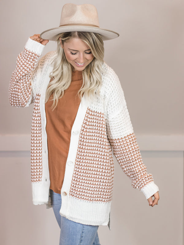Lenny Two Tone Button Cardi