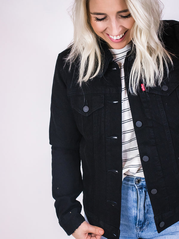 Levi's Black Sherpa Lined Trucker Jacket