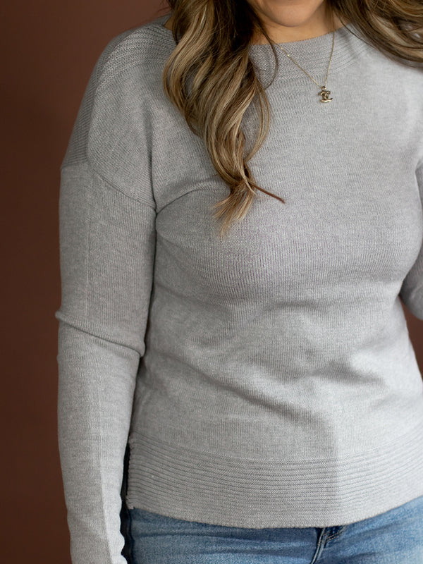 Destiny Grey Boatneck Sweater