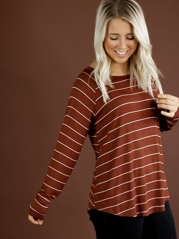 Everyday Cinnamon Stripe Long Sleeve