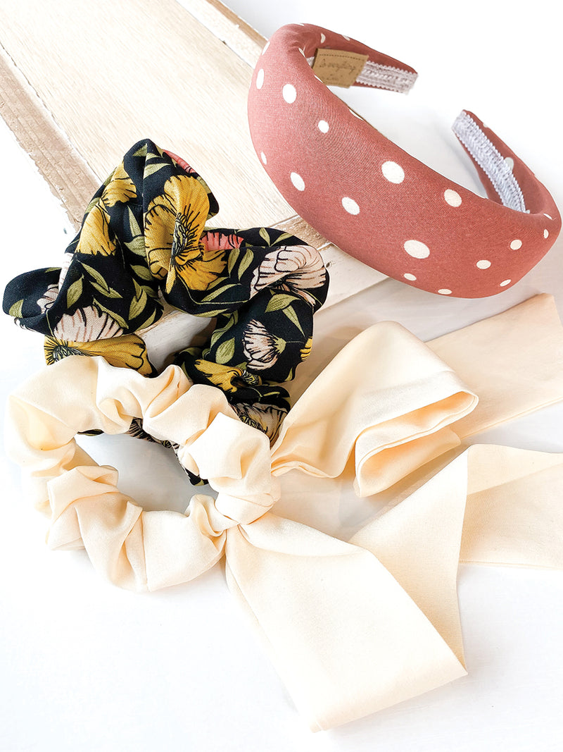 Pale Yellow 2 in 1 Scrunchie
