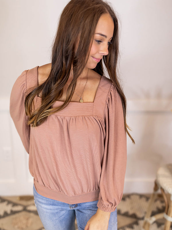 Sunset Rust Square Neckline Blouse