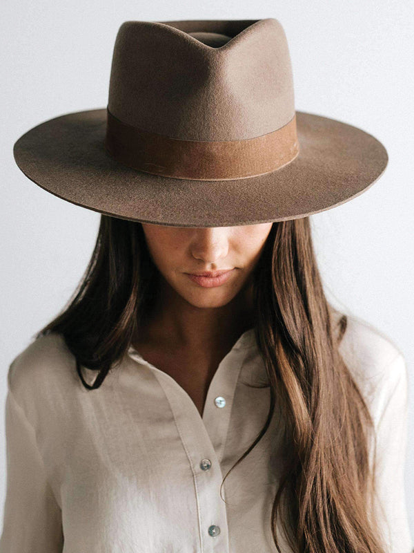 Gigi Pip Miller Brown Pinched Crown Fedora with Brown Band