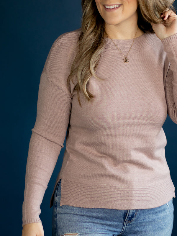 Classic Mauve Boat Neck Sweater