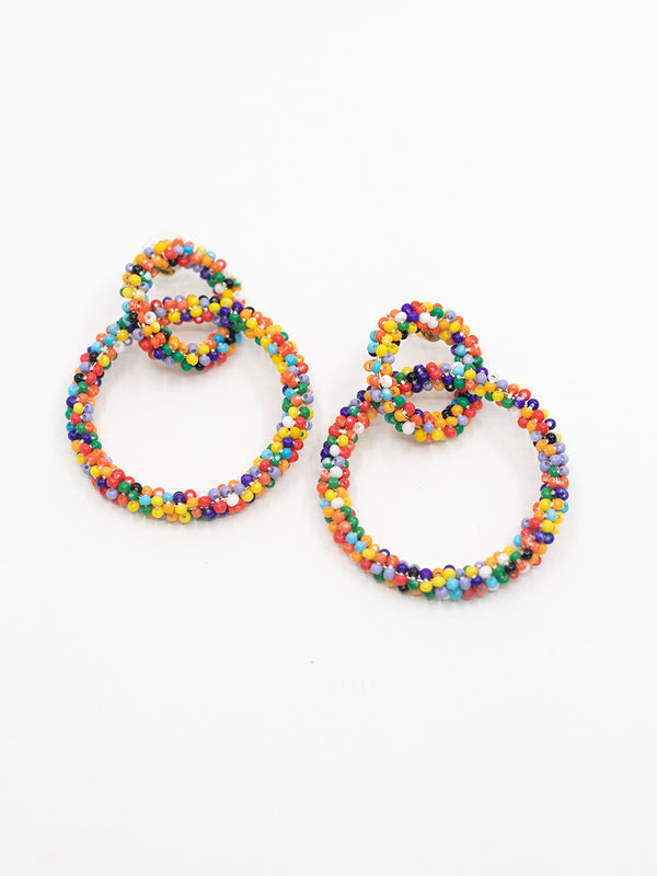 Rainbow Beaded Drop Earring