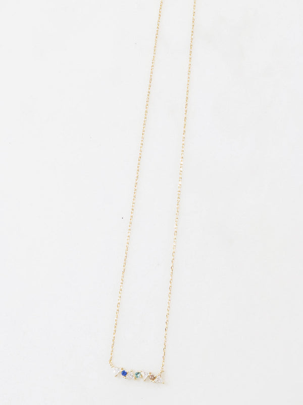 Gold Dainty Multi Gem Necklace