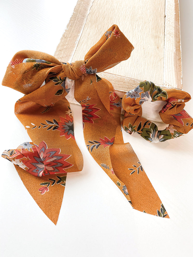 Mustard Floral 2 in 1 Scrunchie