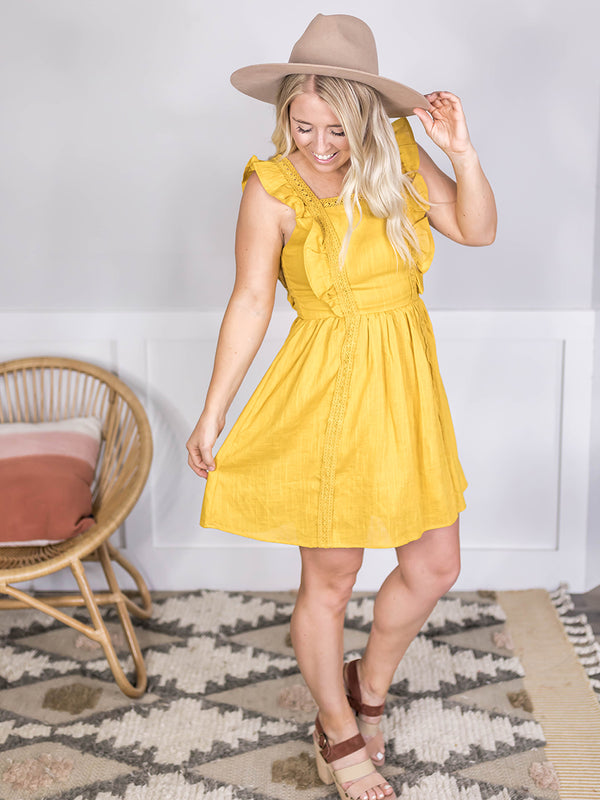 Mimi Mustard Ruffle Dress