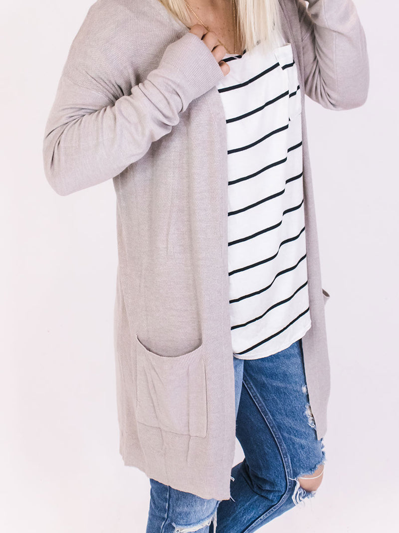 Heathered Taupe Soft + Classic Cardigan