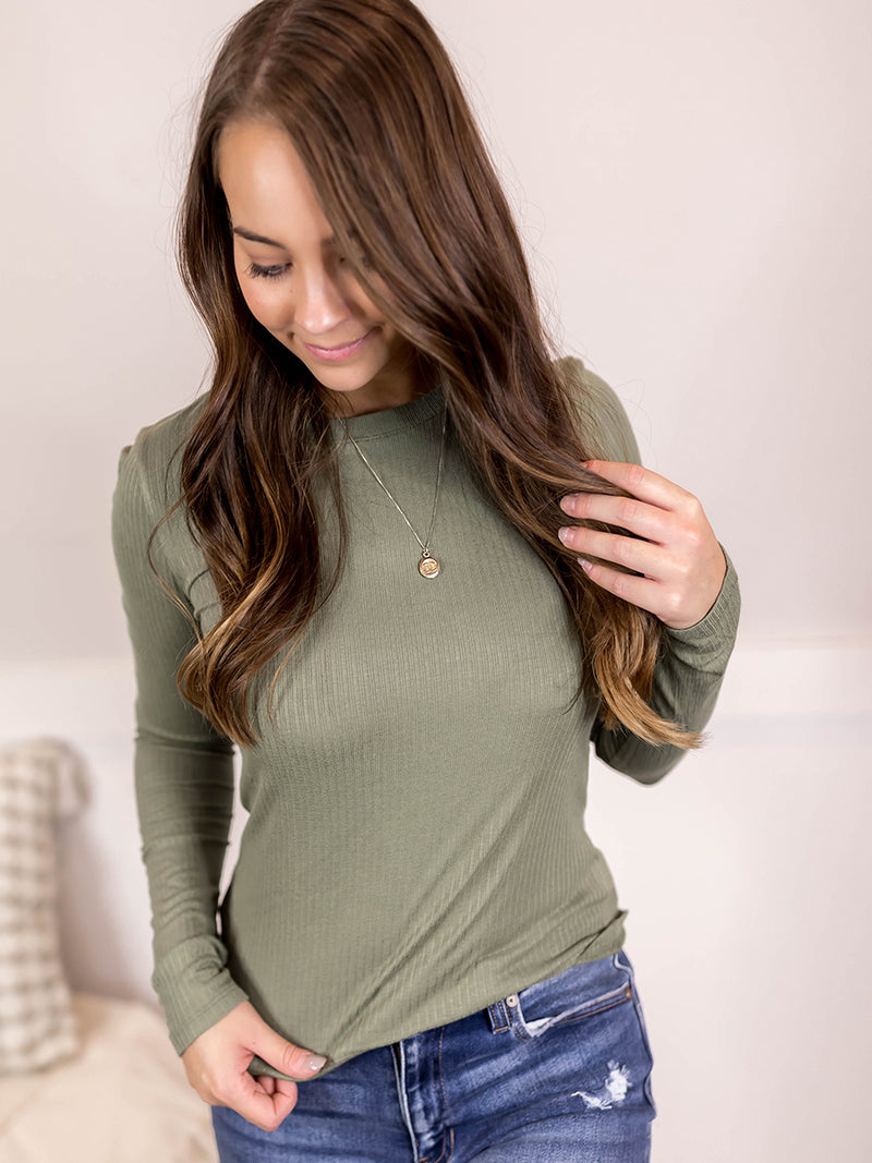 Olive Ribbed Long Sleeve Top