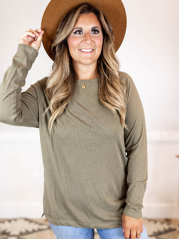 Everyday Raw Hem Olive Top