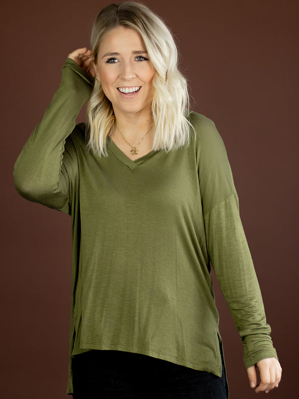Everyday Olive Vneck Top
