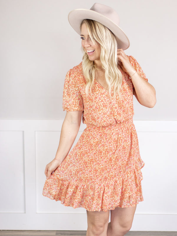Serene Floral Ruffle Dress