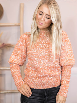 Apricot Speckled Knit Sweater