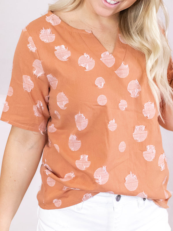 Peach Textured Dot Blouse
