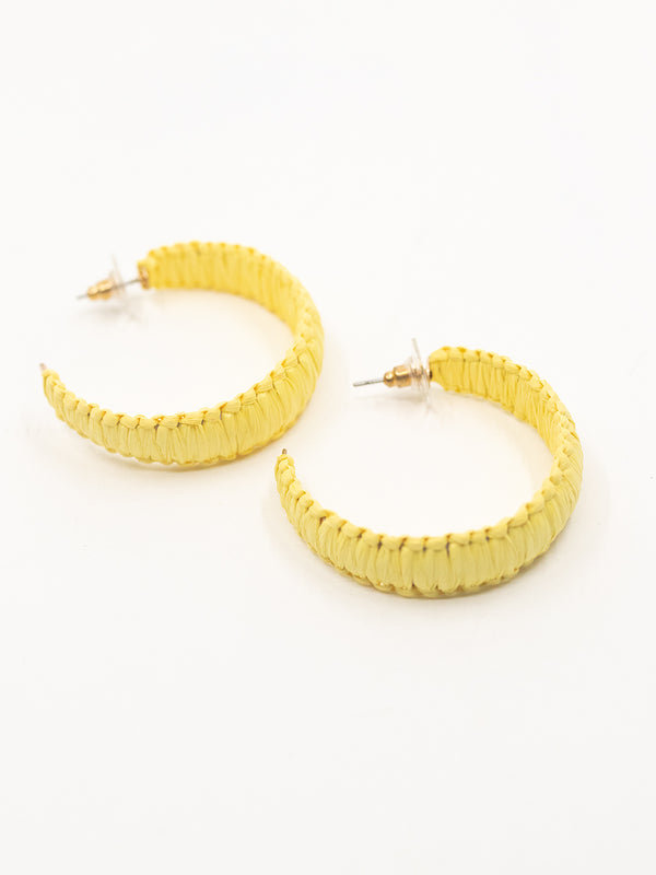 Bright Days Yellow Woven Hoops
