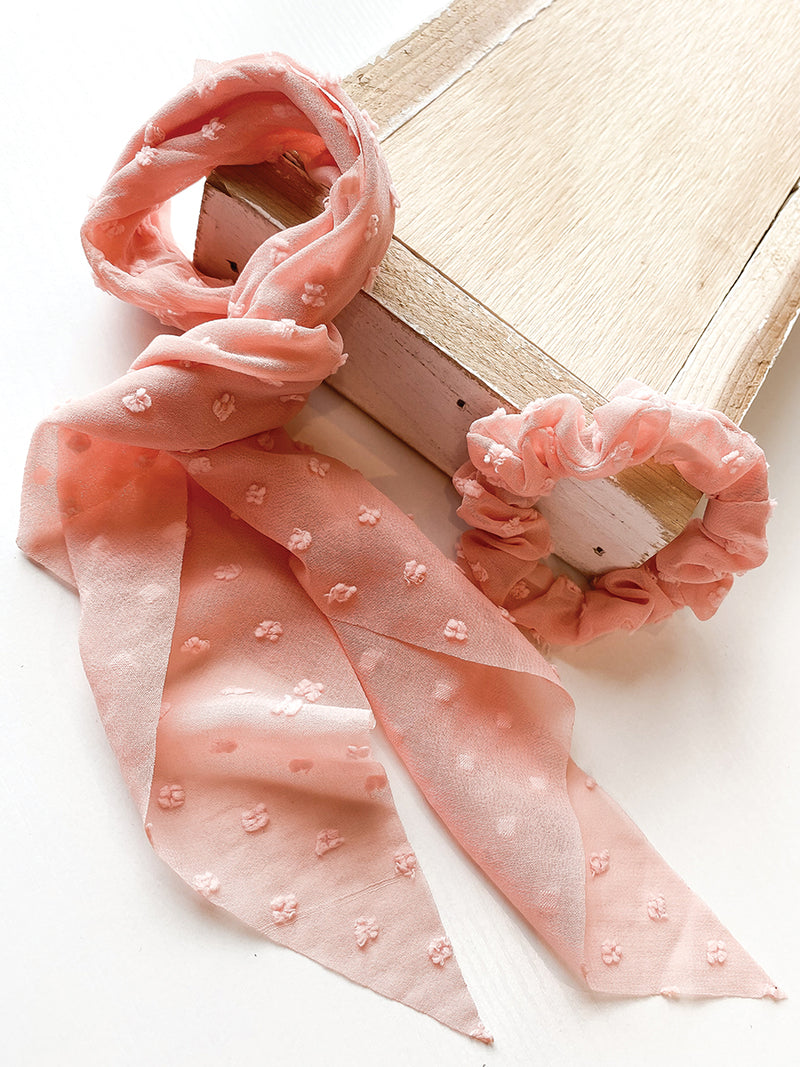 Pink Swiss Dot 2 in 1 Scrunchie