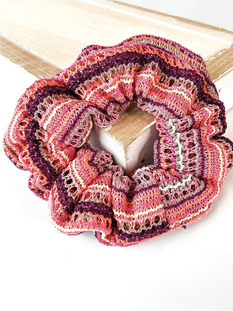 Fuscia + Plum Knit Stripe Scrunchie