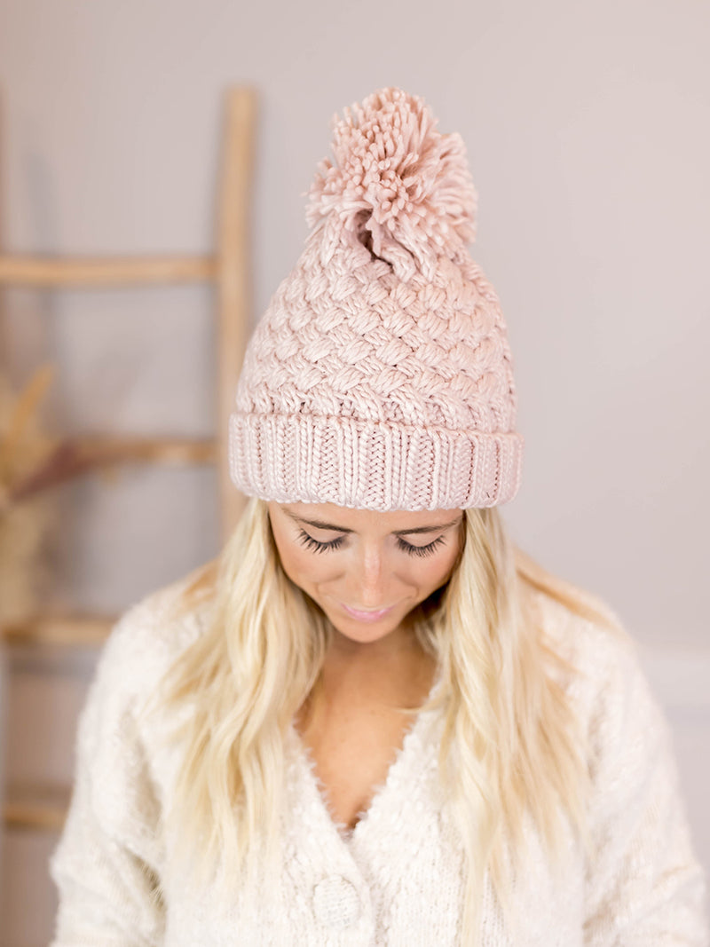 Blush Basketweave Beanie