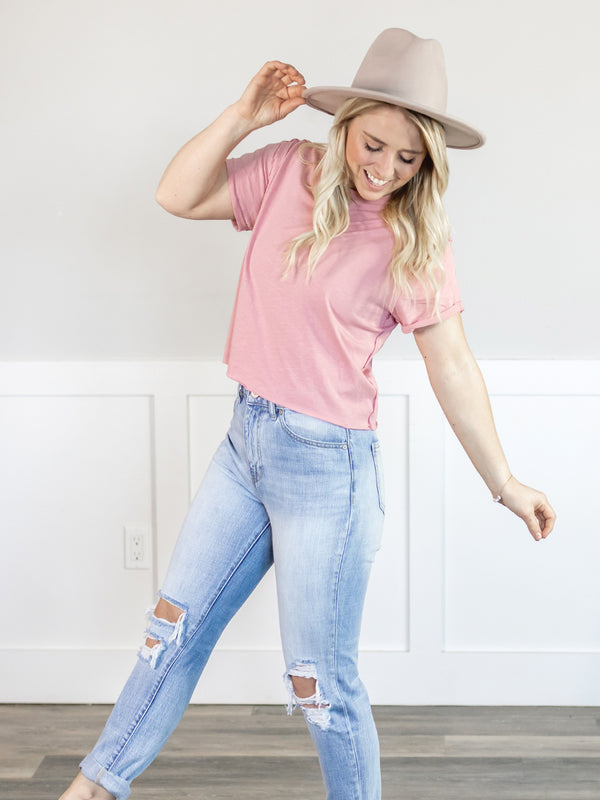 Everyday Raw Hem Rose Crop Tee