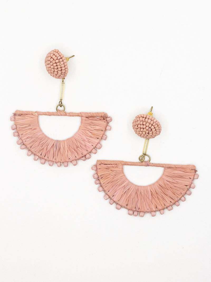 Pink Raffia Drop Earrings
