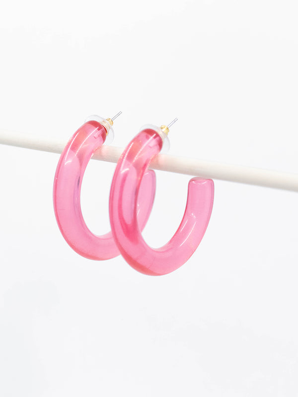 Pink Acrylic Hoop Earrings